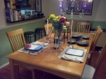 Husband had the table set gorgously for my late-night arrival post work and evening teaching committments