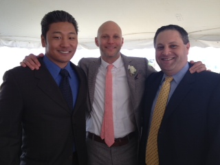 Groom in the middle